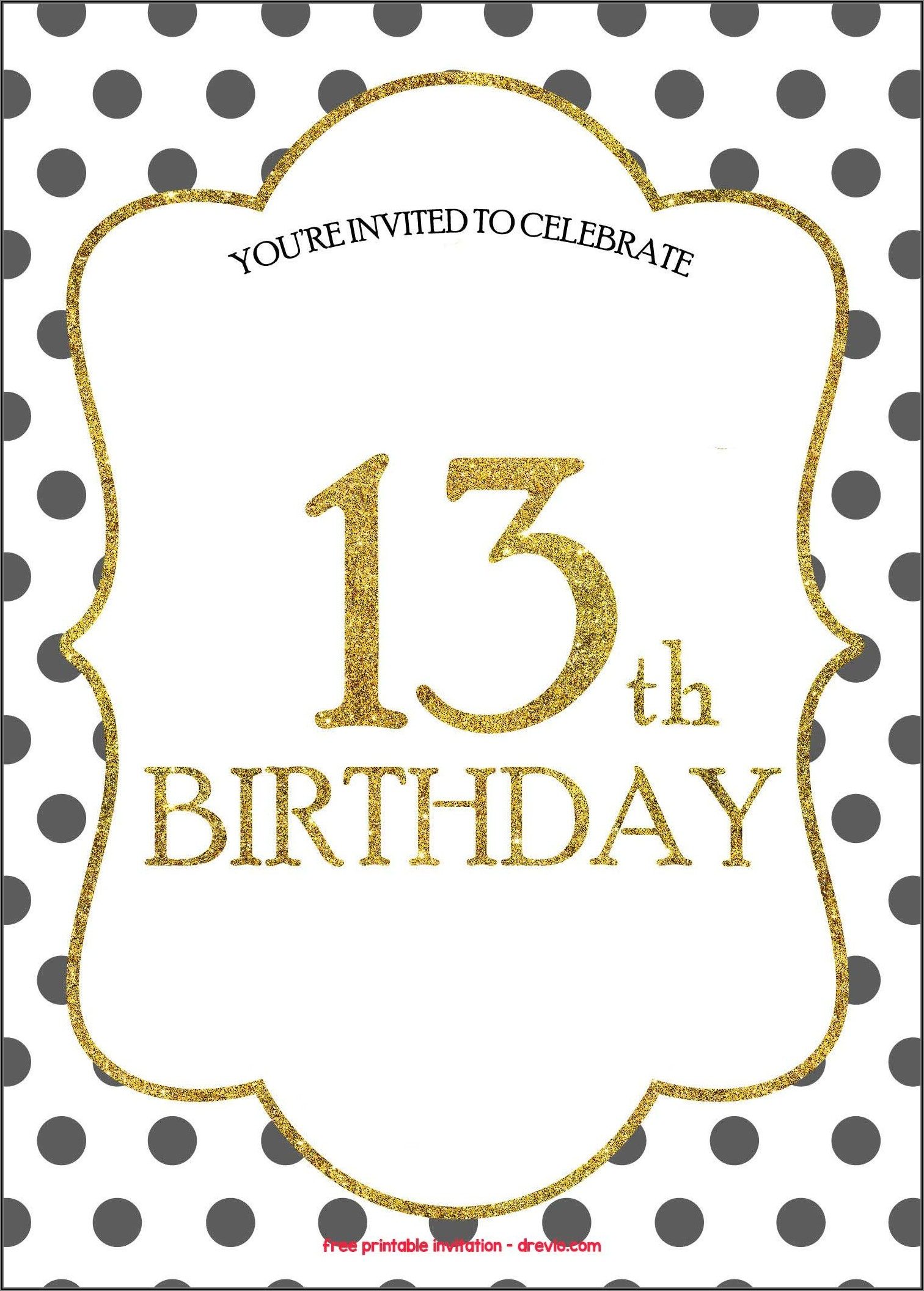 Printable 13th Birthday Invitations Free Templates
