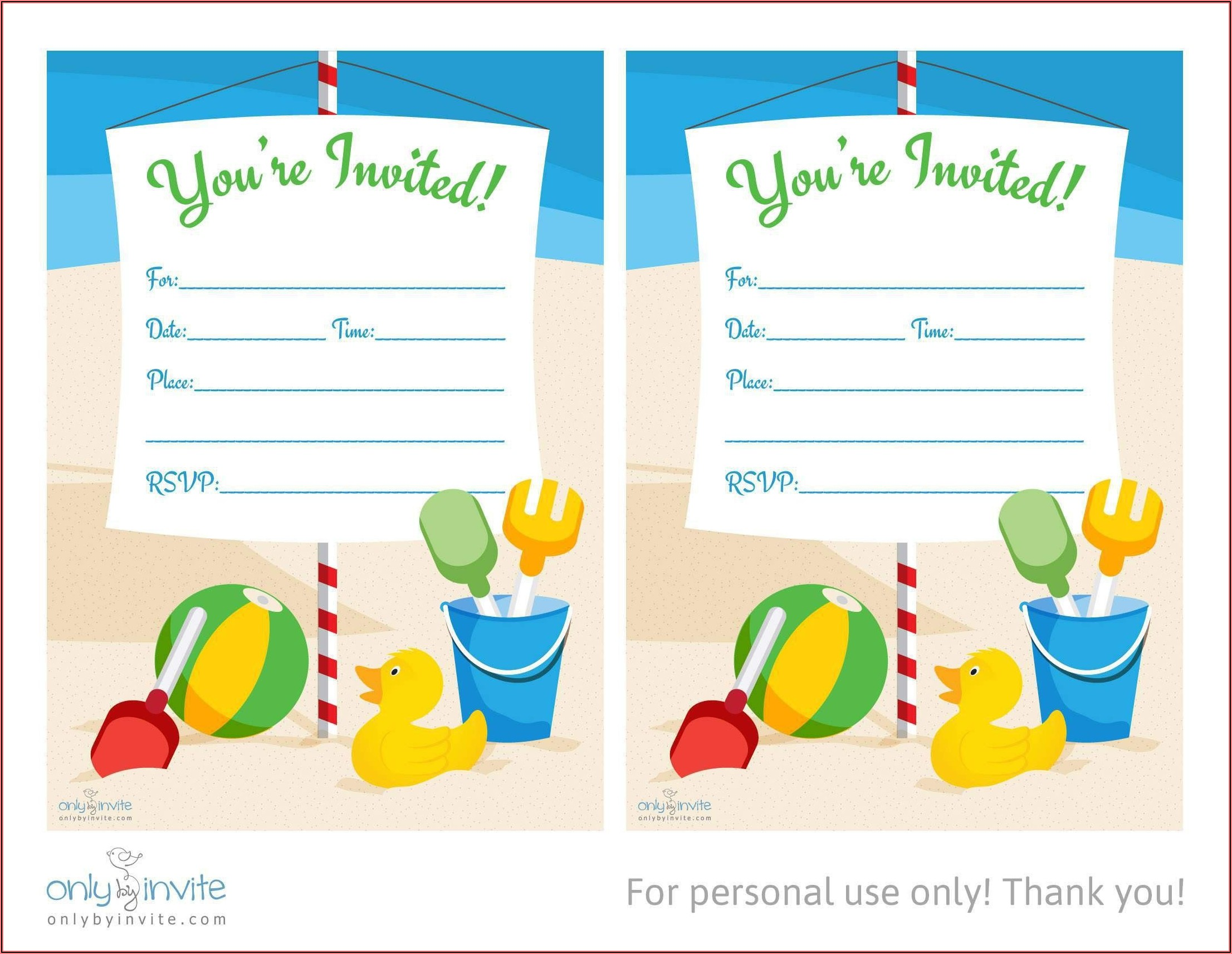 Printable Birthday Party Invitations Free