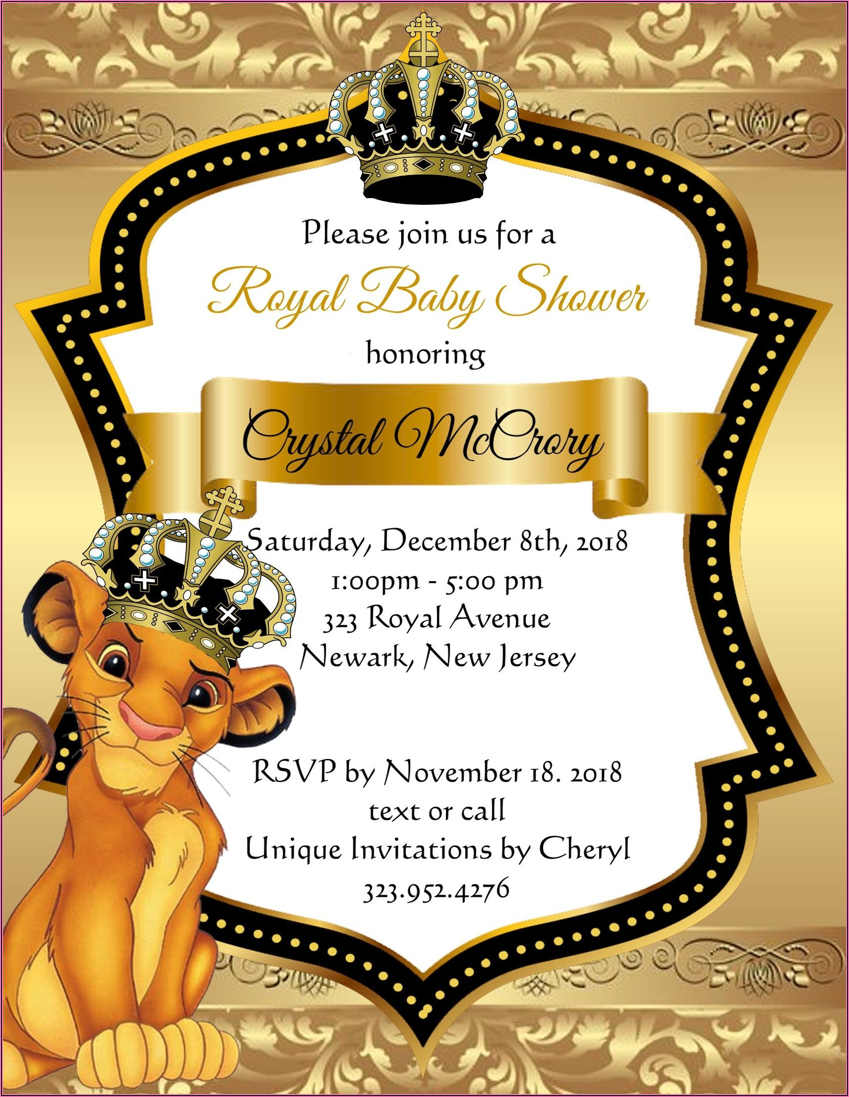 Printable Blank Lion King Invitations