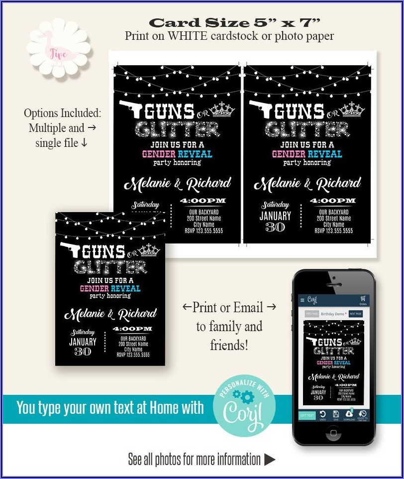 Printable Gender Reveal Invitation Template