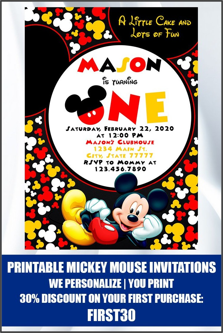 Printable Mickey Mouse 1st Birthday Invitations