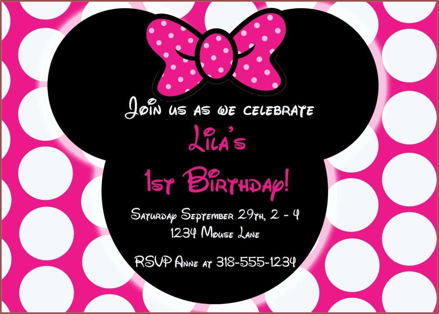 Printable Minnie Mouse Invitation Template
