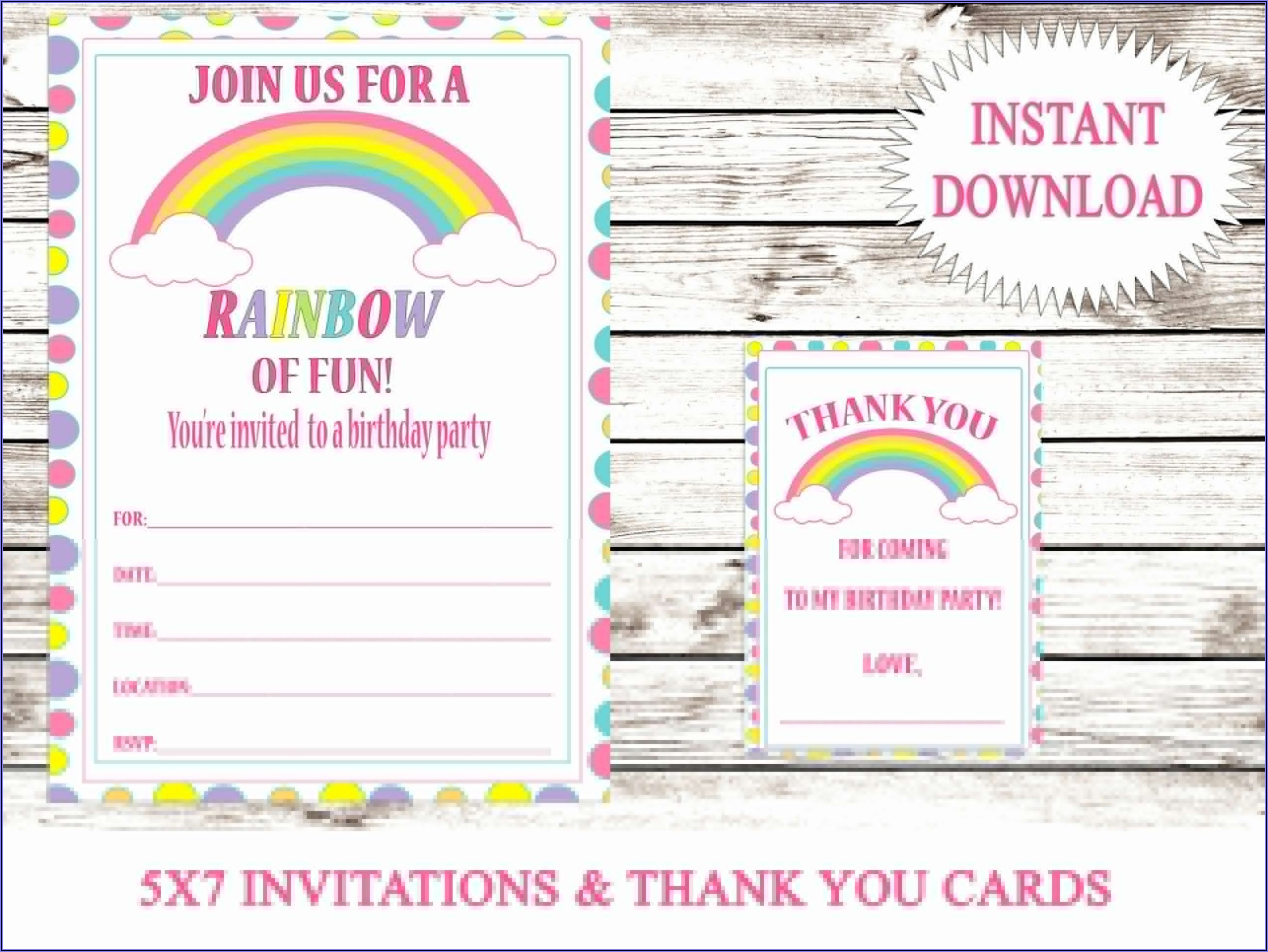 Printable Rainbow Birthday Invitations