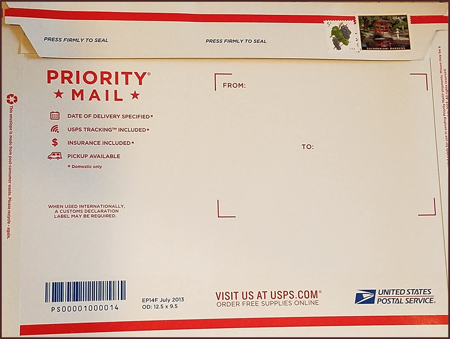 Priority Mail Flat Rate Envelope Postage Cost