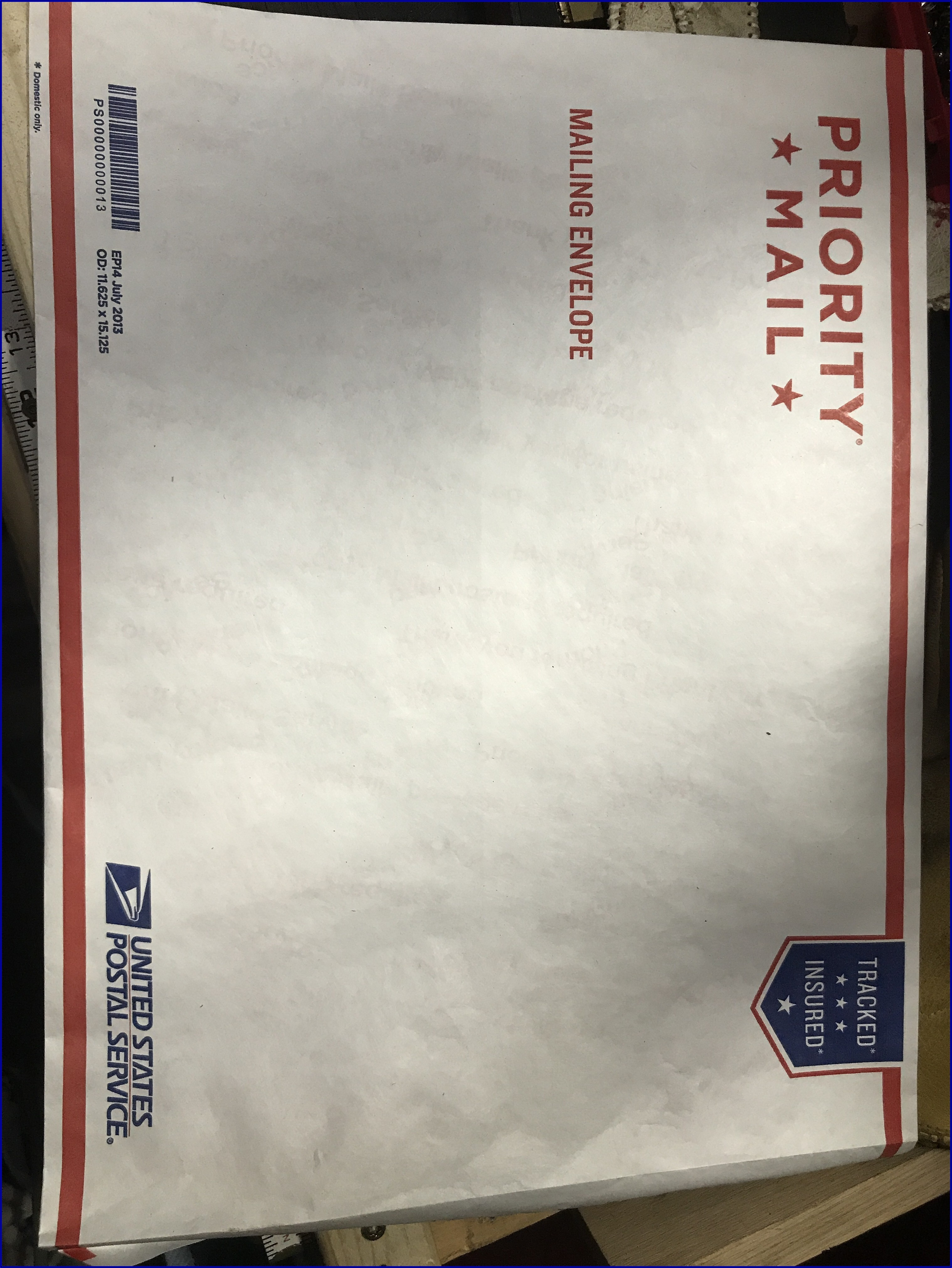 Priority Mail Mailing Envelope 11 58 X 15 18