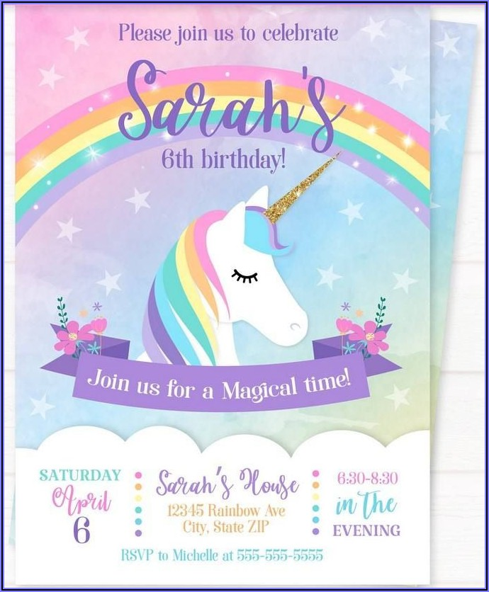 Rainbow Birthday Invitations Free