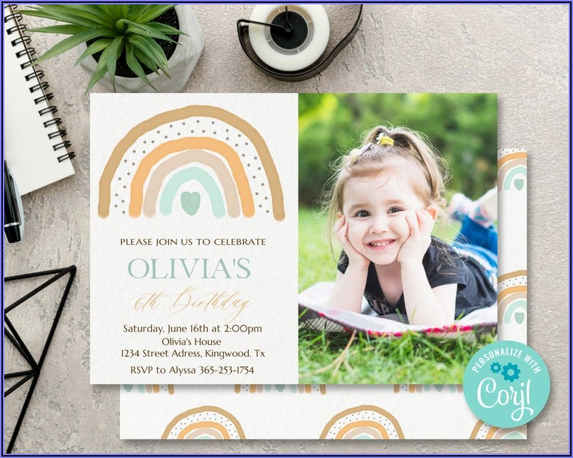 Rainbow Birthday Invitations With Photo
