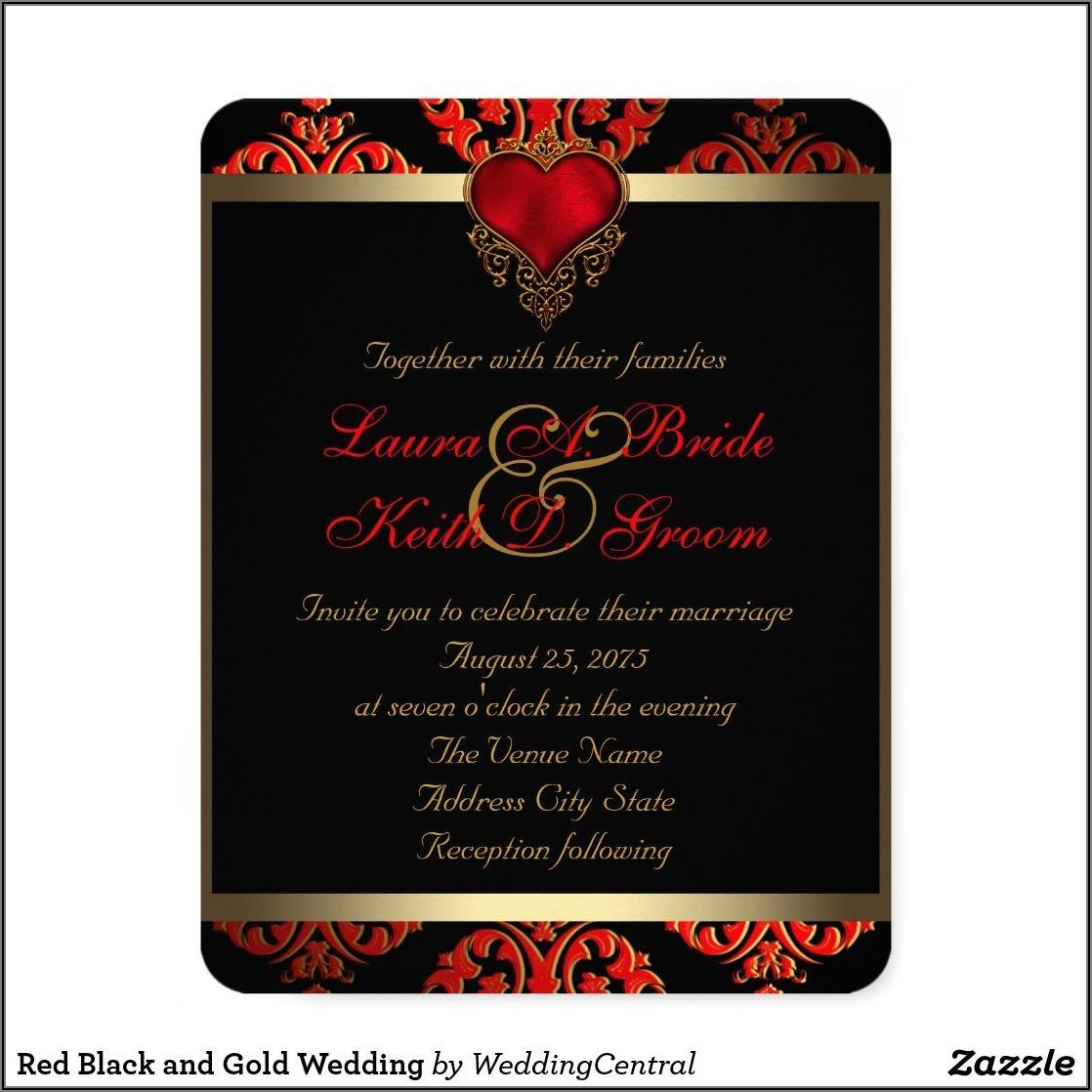 Red Black And Gold Wedding Invitations