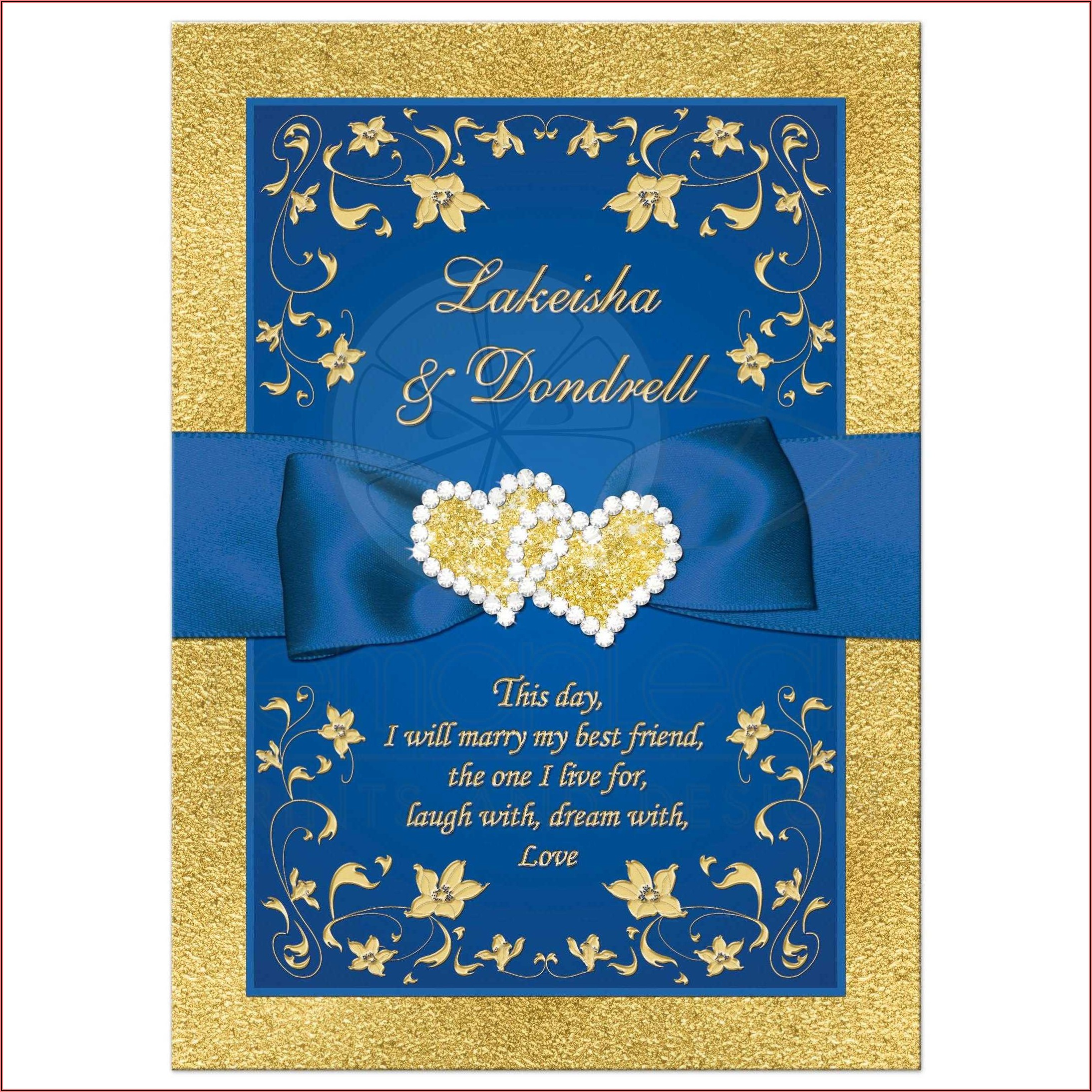Royal Blue And Gold 50th Wedding Invitations