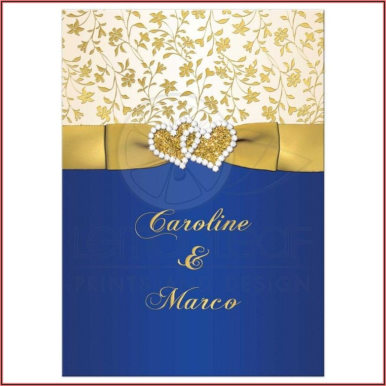 Royal Blue And Gold Wedding Invitation Card