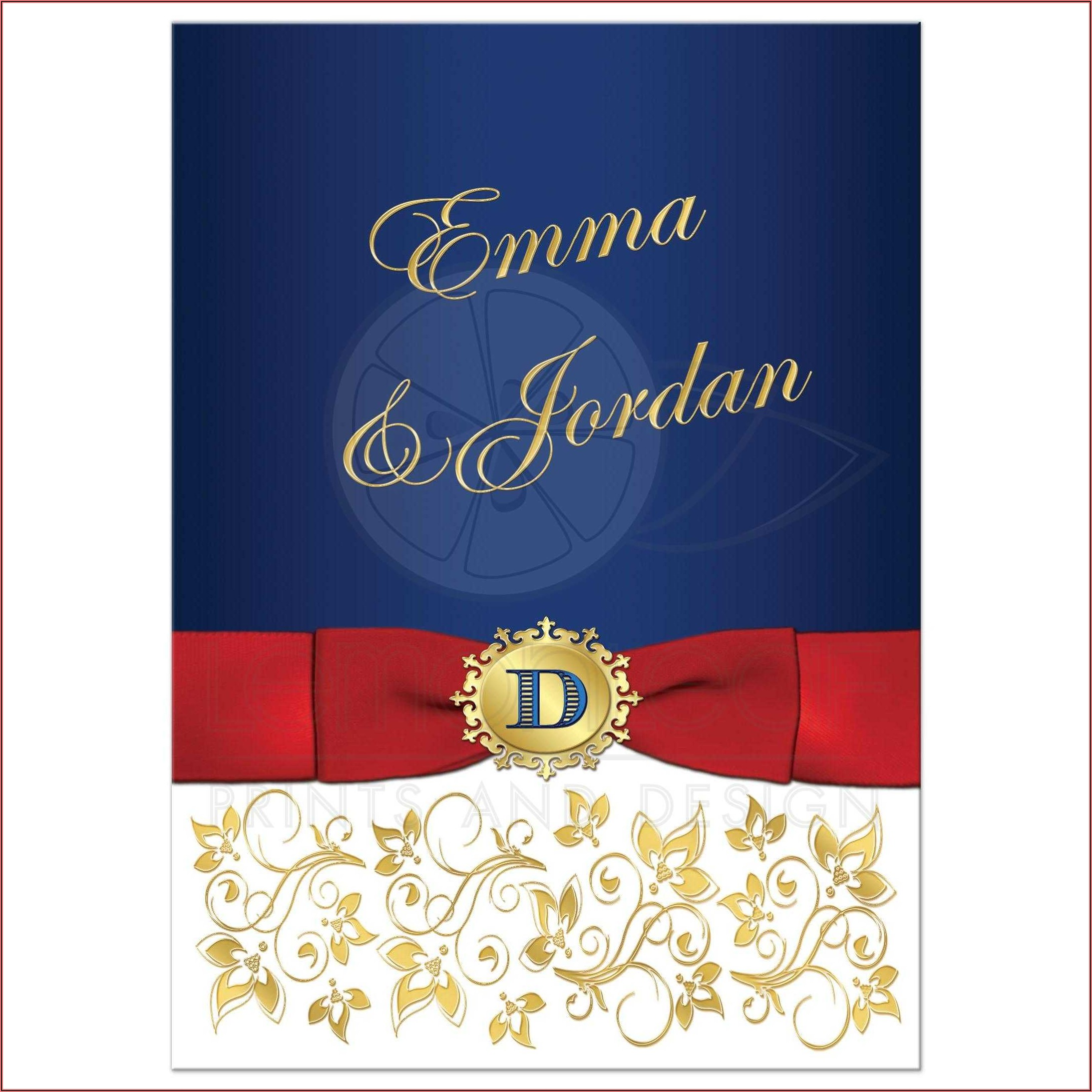 Royal Blue And Gold Wedding Invitation Design