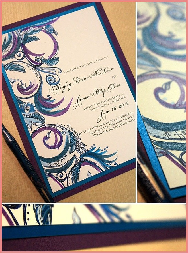 Royal Blue And Purple Wedding Invitations