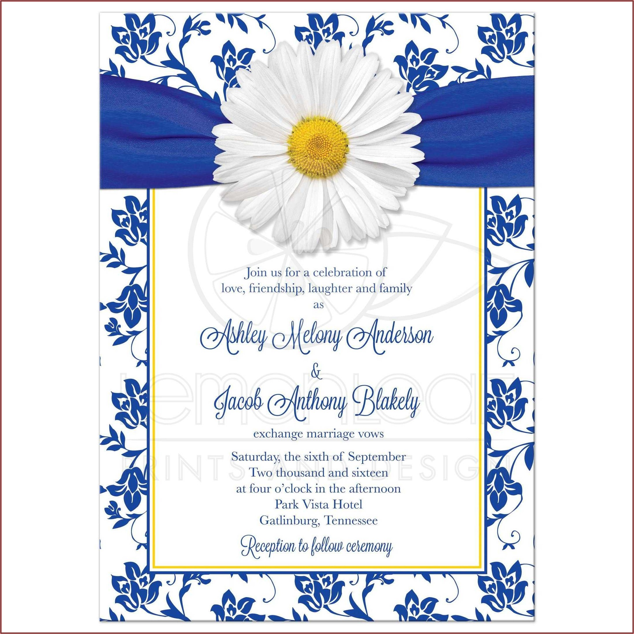 Royal Blue And White Wedding Invitation Cards