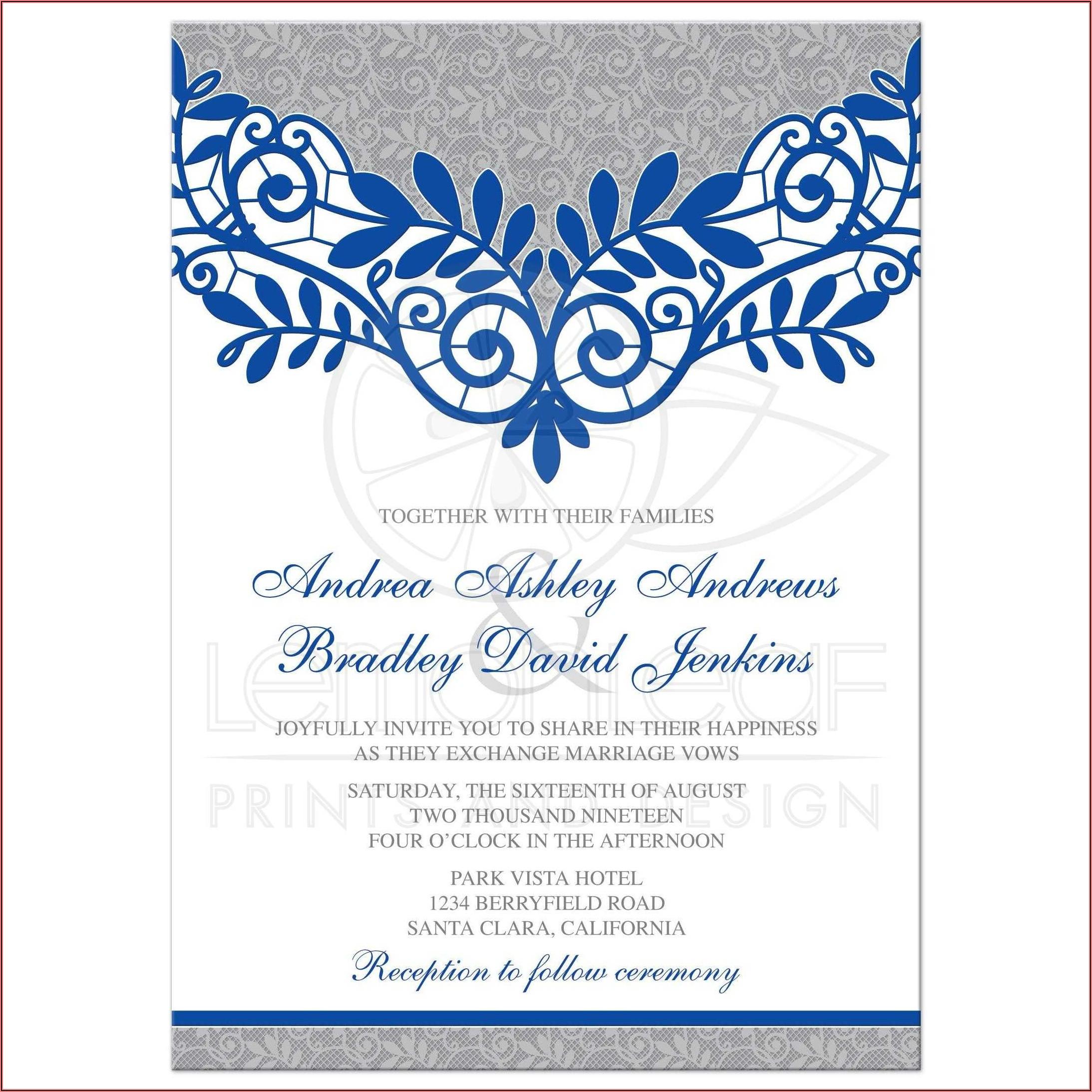 Royal Blue And White Wedding Invitation Templates