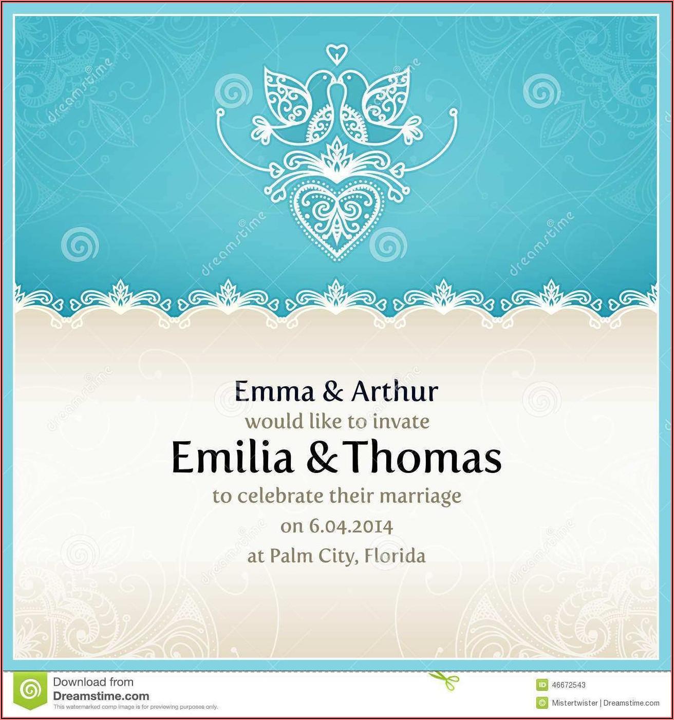 Royal Blue Wedding Invitation Blank Templates