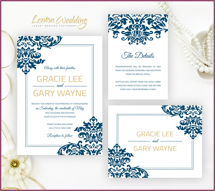 Royal Blue Wedding Invitation Borders