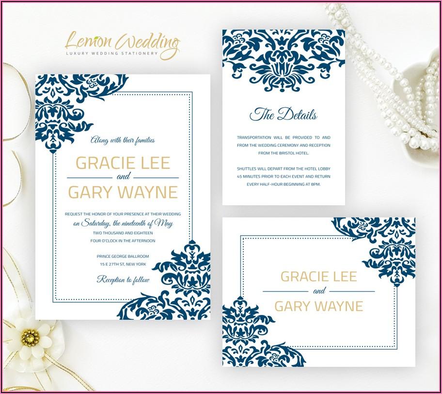 Royal Blue Wedding Invitation Borders