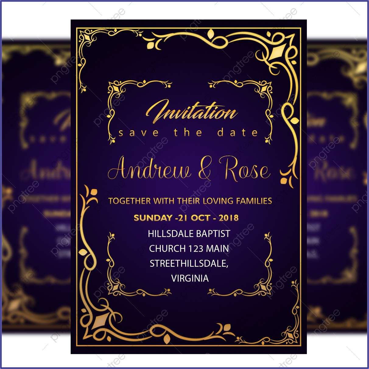 Royal Blue Wedding Invitation Designs