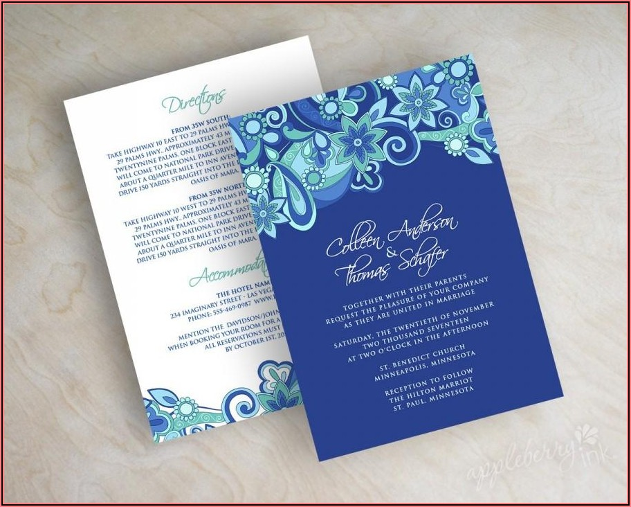Royal Blue Wedding Invitation Layout