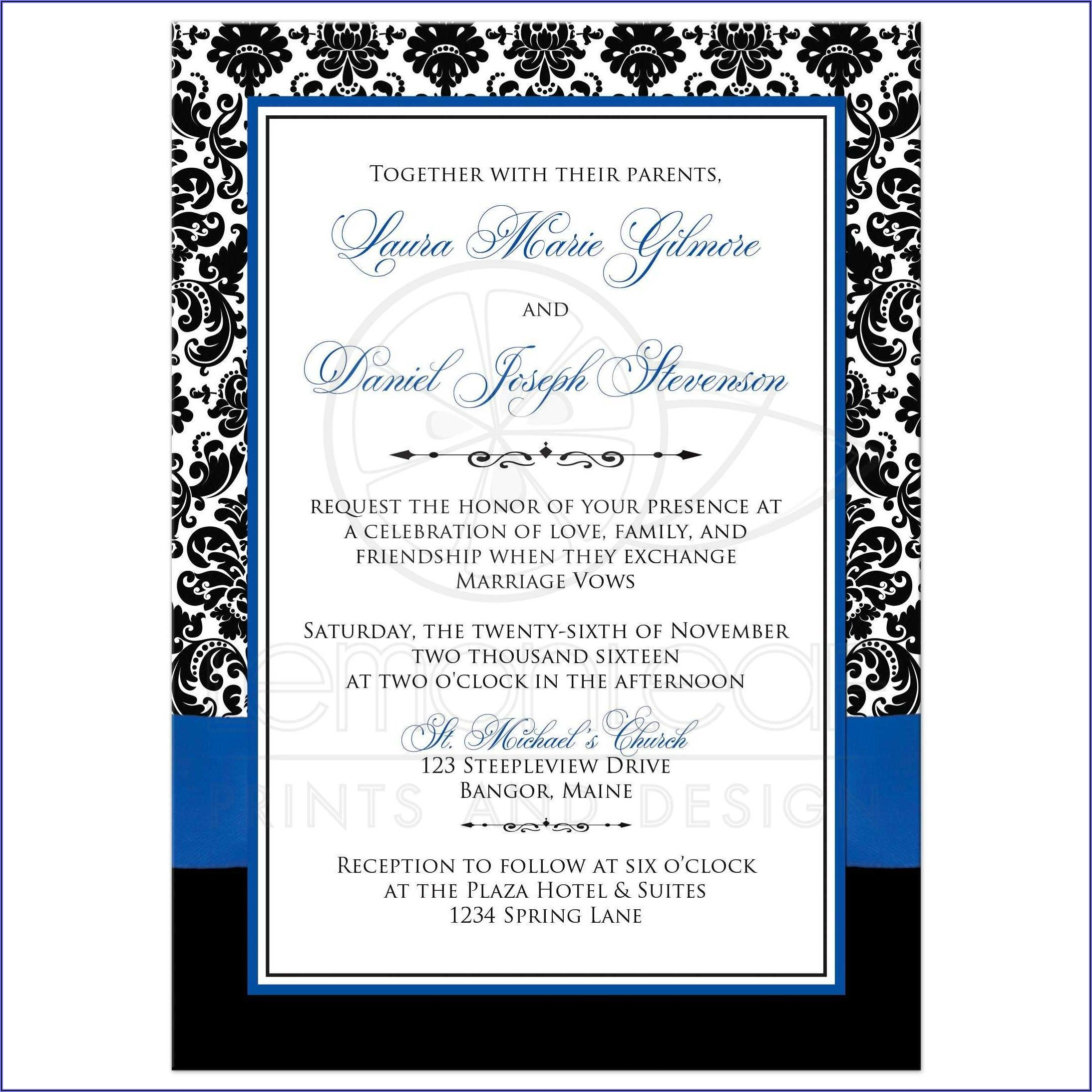 Royal Blue Wedding Invitation Sample