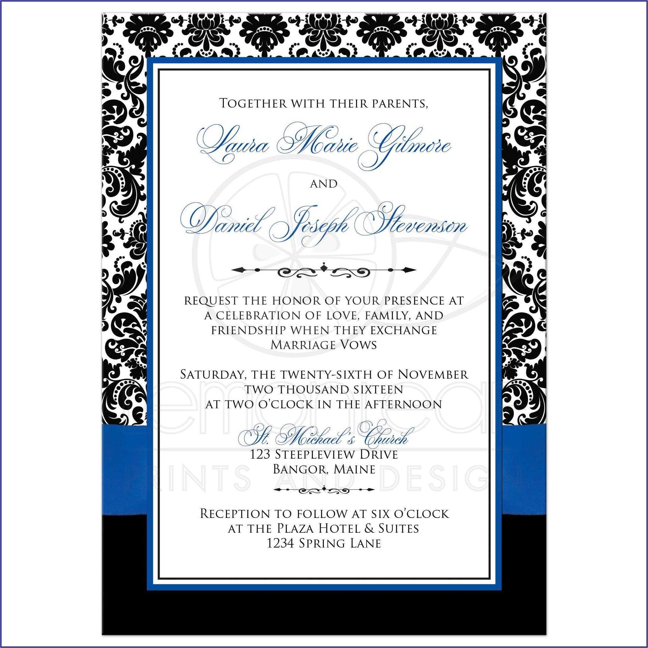 Royal Blue Wedding Invitation Sample