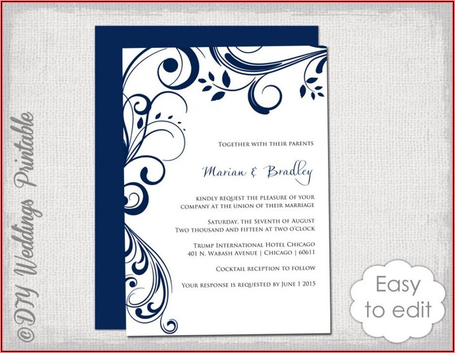 Royal Blue Wedding Invitation Templates Free Download