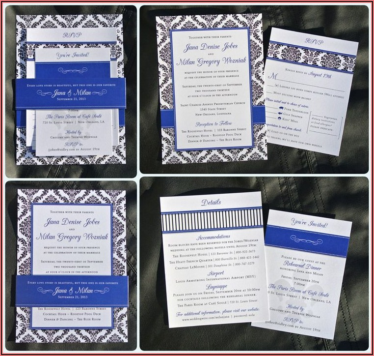 Royal Blue Wedding Invitations Designs