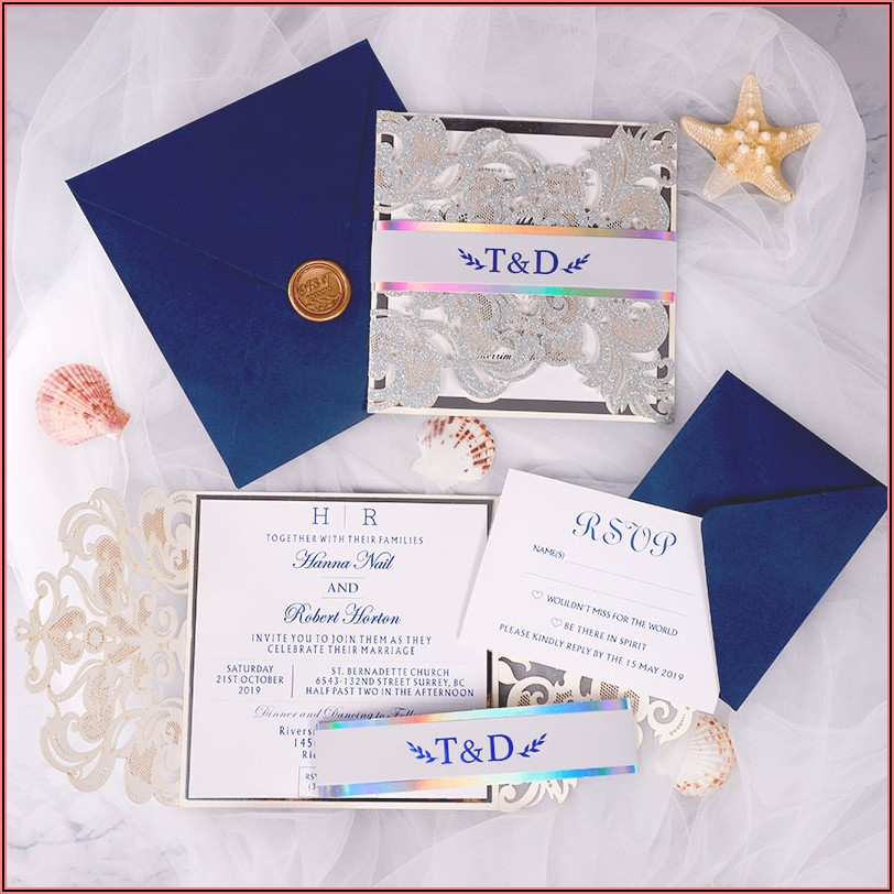 Royal Blue Wedding Invitations Laser Cut