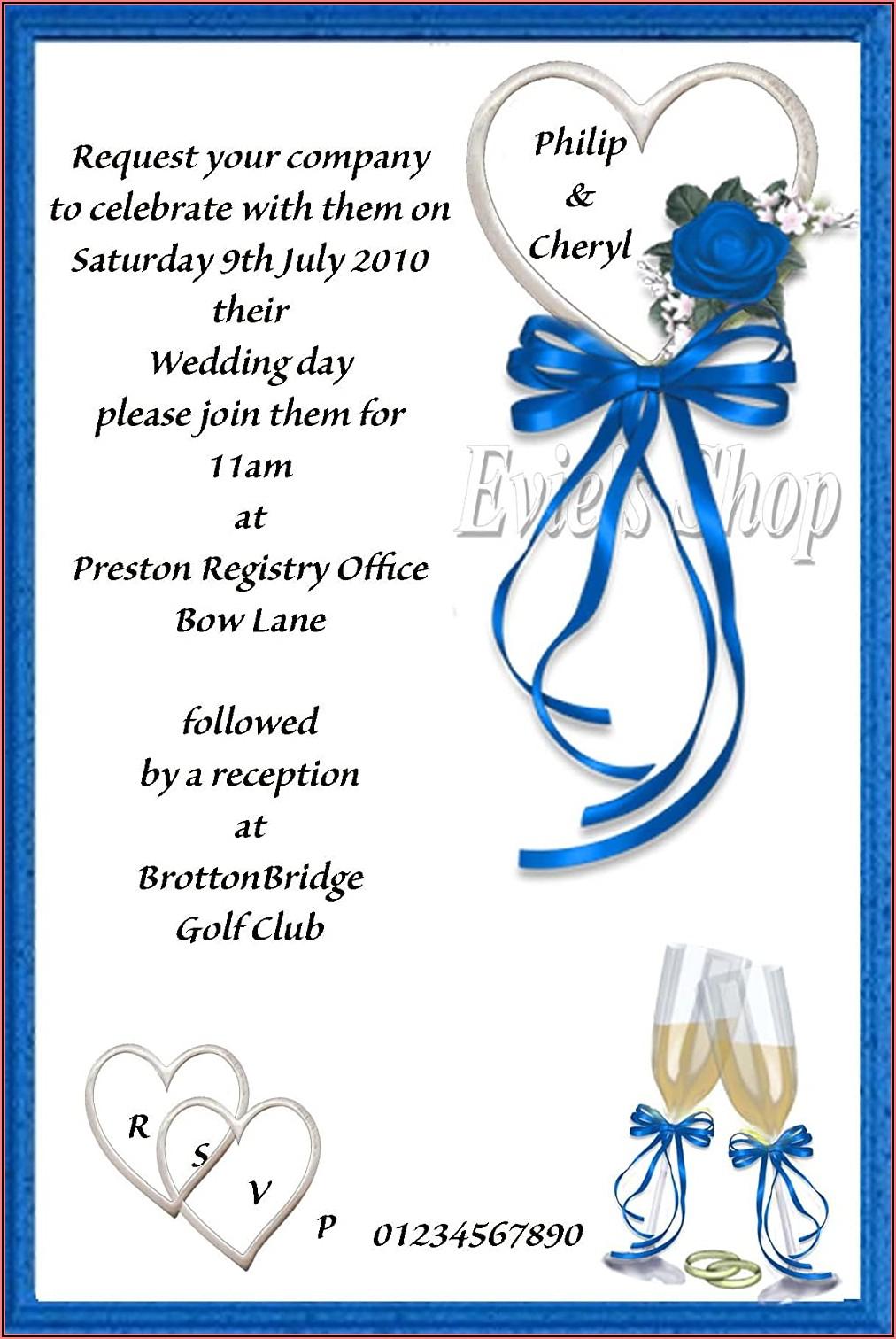 Royal Blue Wedding Invitations Uk