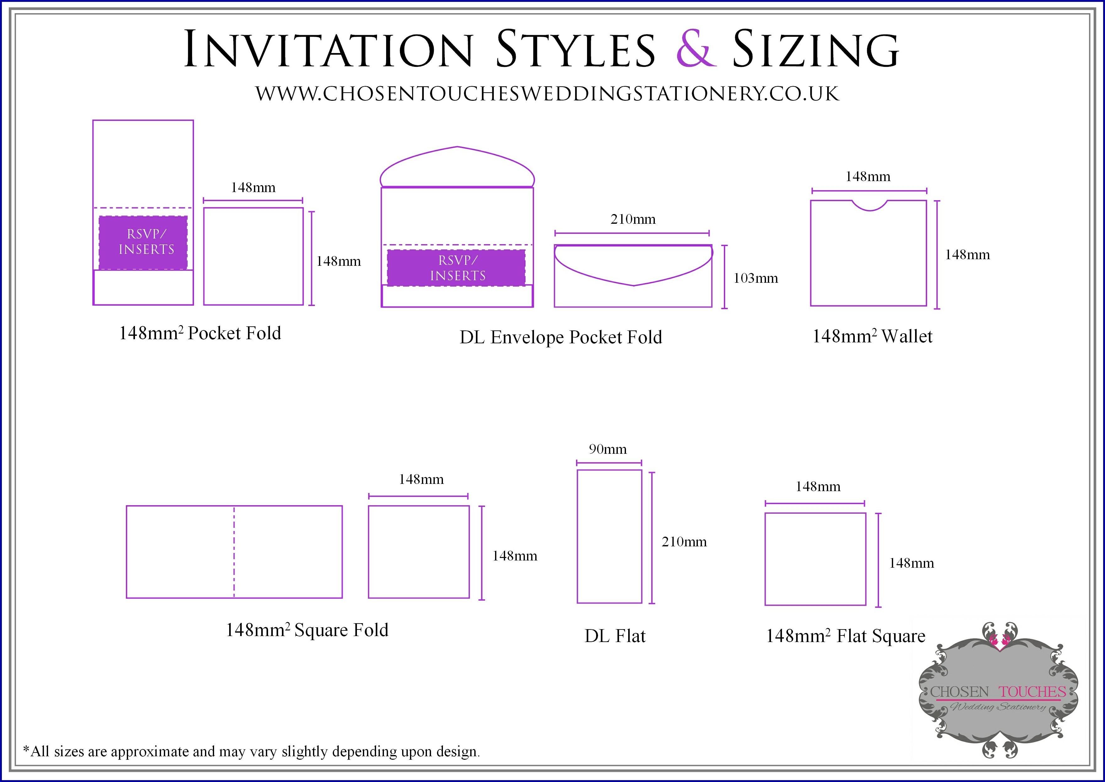 Rsvp Envelope Size Chart