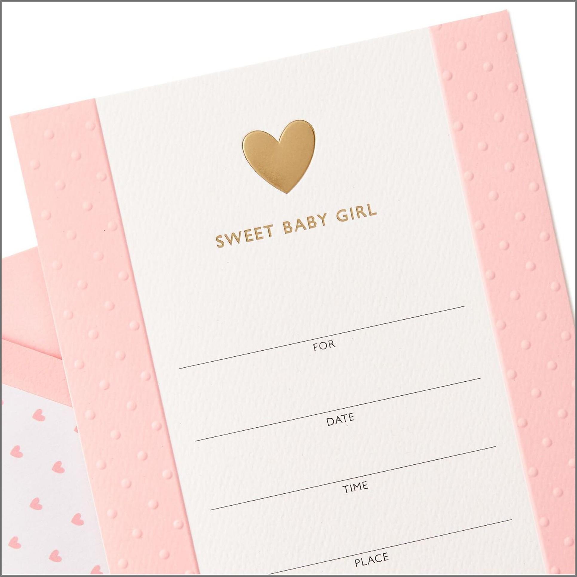 Sweet Baby Girl Shower Invitations