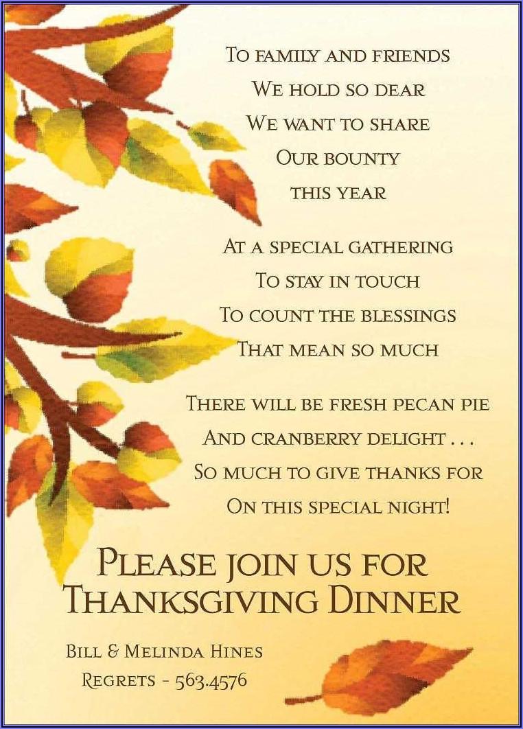 Thanksgiving Potluck Invitation Wording For Work