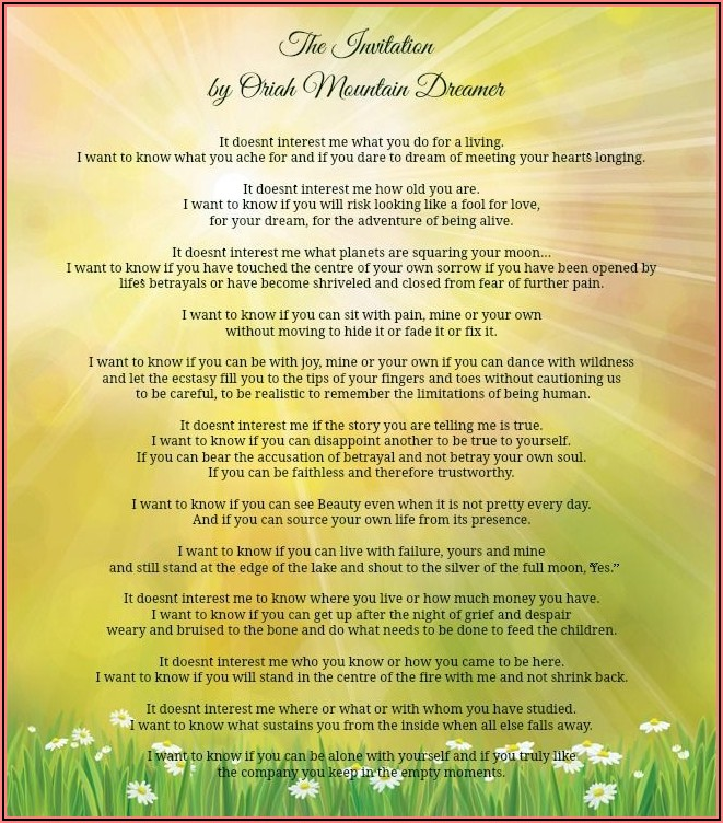 The Invitation Poem Oriah Mountain Dreamer Pdf