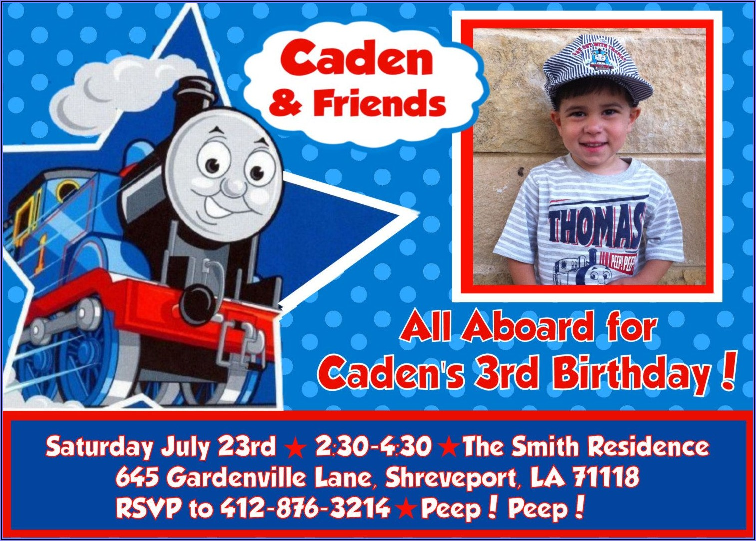 Thomas The Train 3rd Birthday Invitations