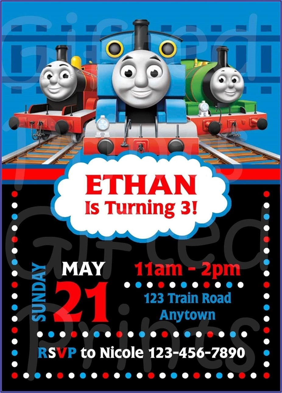 Thomas The Train Birthday Invitations With Photo
