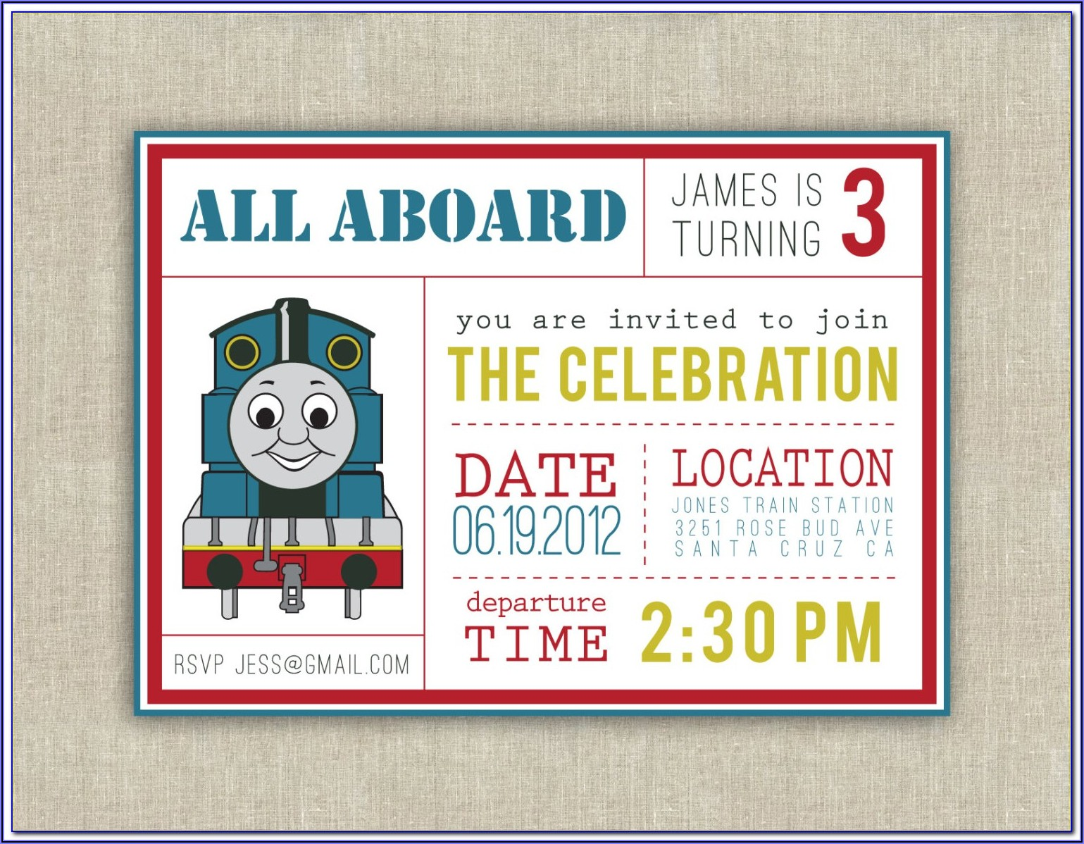 Thomas The Train Birthday Party Invitation Templates