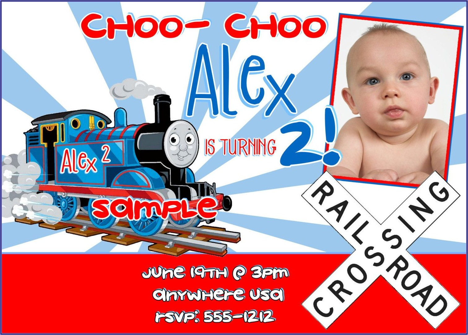 Thomas The Train Digital Invitations