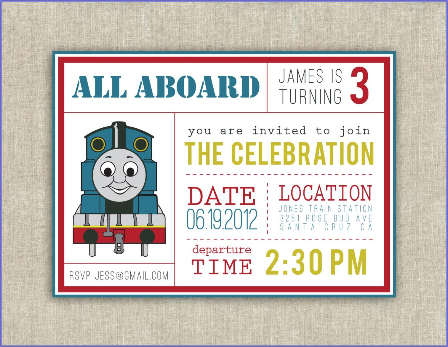 Thomas The Train Invitations Ideas