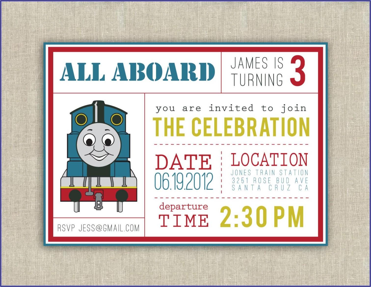 Thomas The Train Invitations Ideas