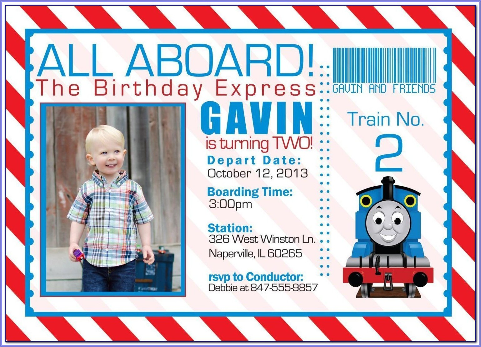 Thomas The Train Invitations Template