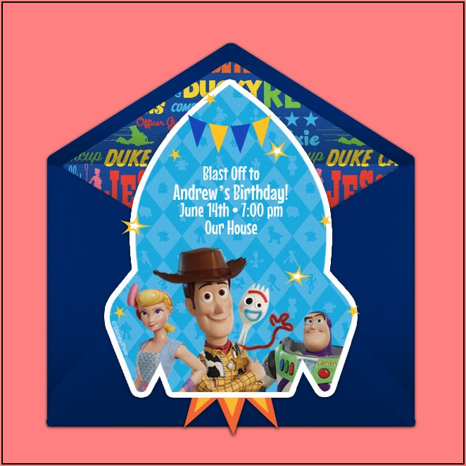 Toy Story 4 Birthday Invitations Free
