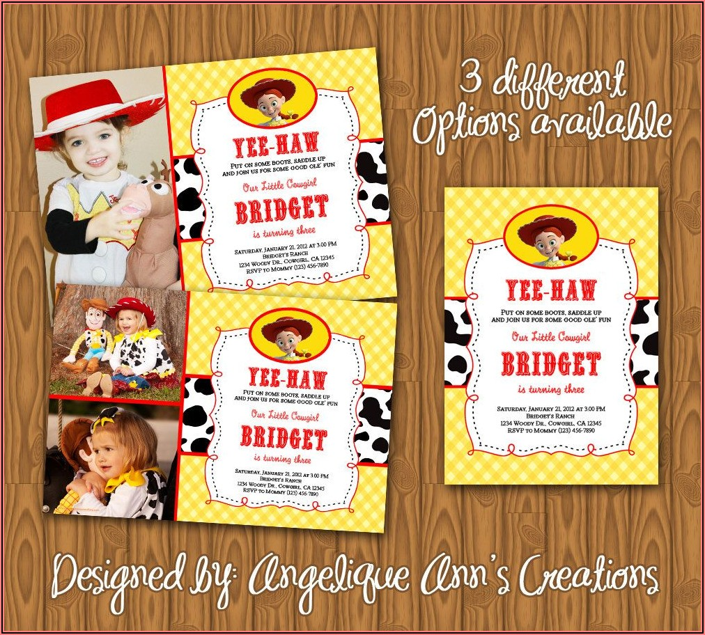 Toy Story Birthday Invitations Girl