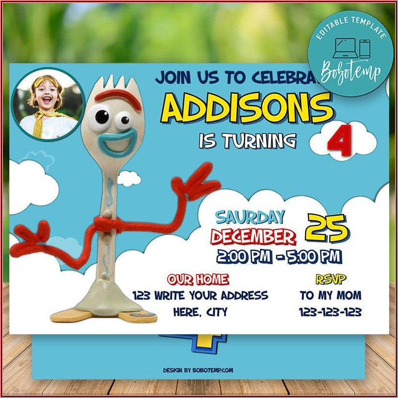 Toy Story Birthday Invitations With Photo