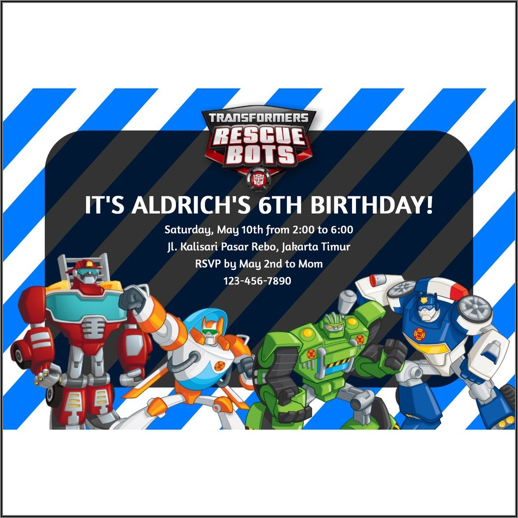 Transformers Custom Birthday Invitations