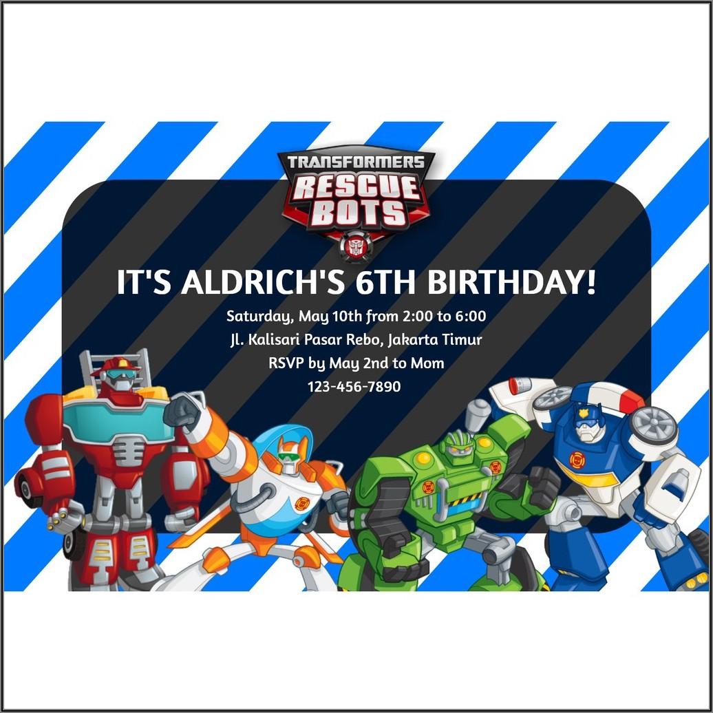 Transformers Custom Birthday Invitations