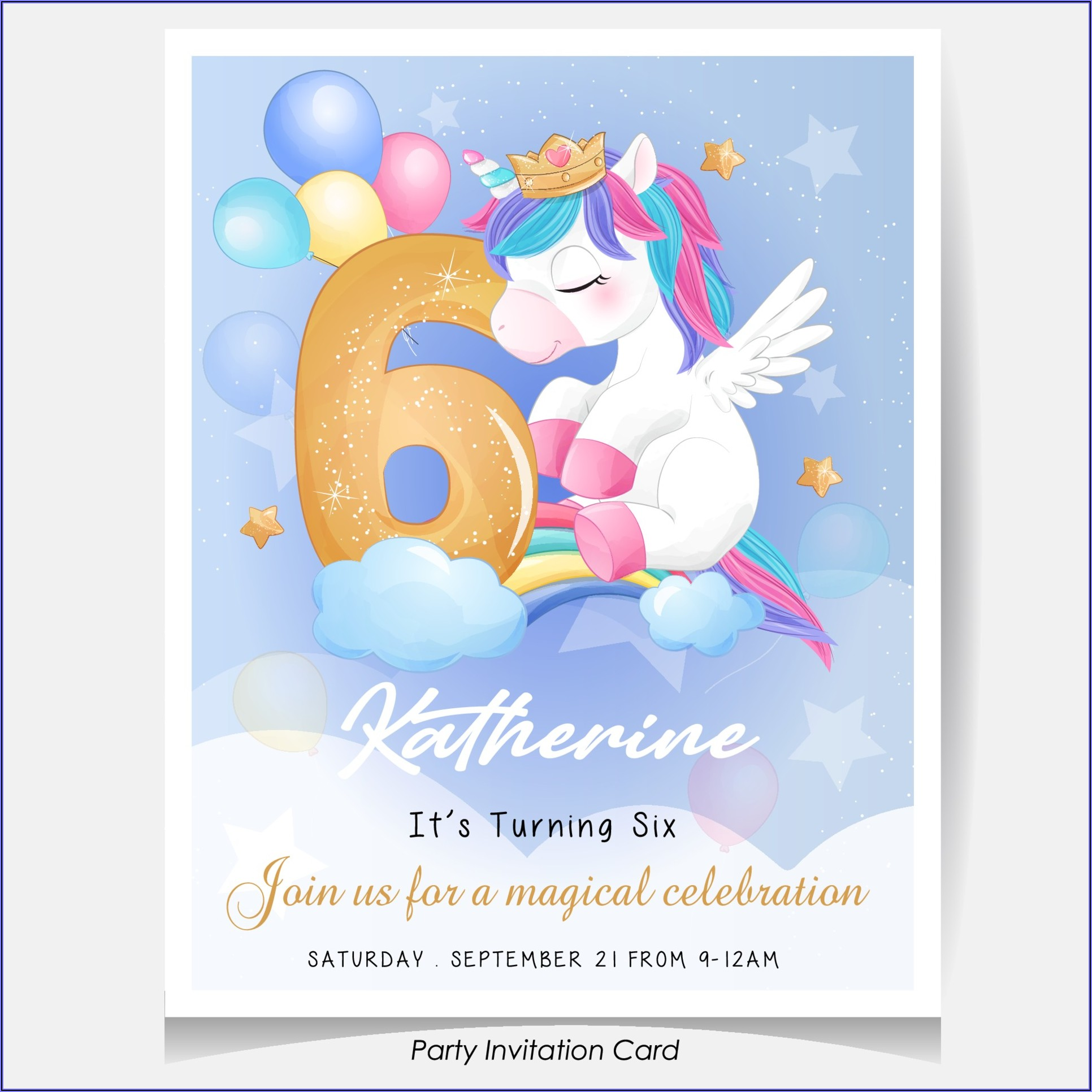 Unicorn Birthday Invitation Card Free Download