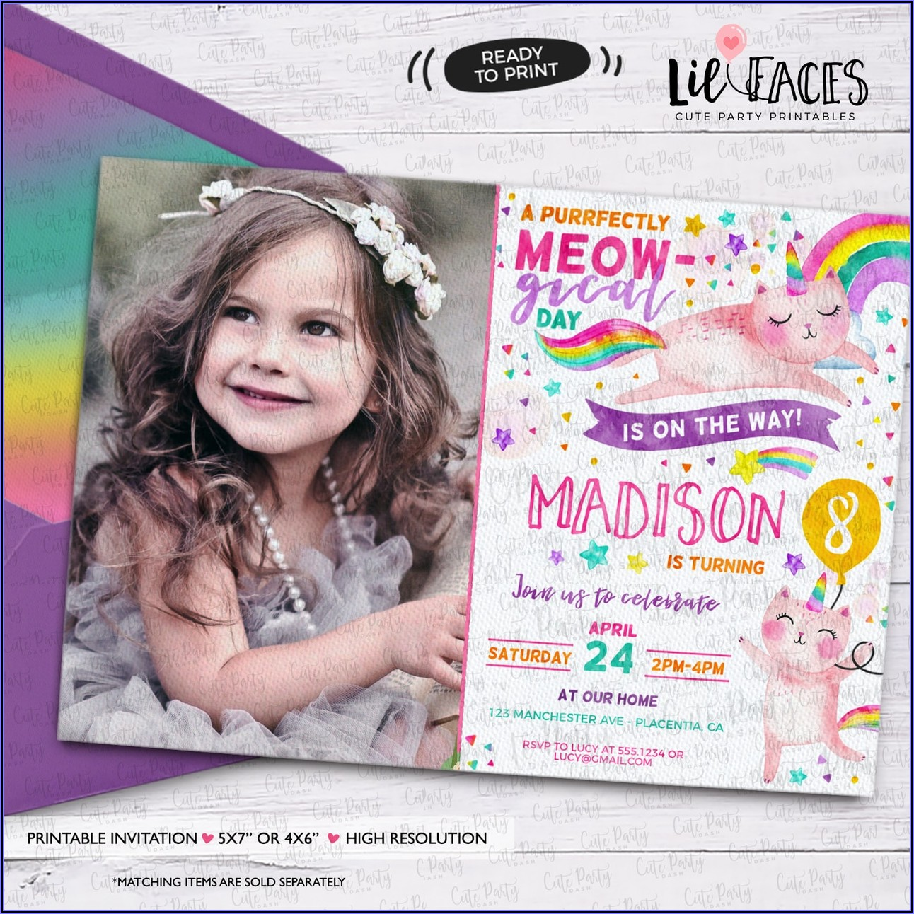 Unicorn Rainbow Birthday Invitations
