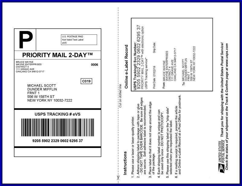 Usps Flat Rate Envelope Mailing Label