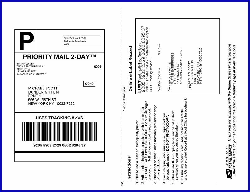 Usps Flat Rate Envelope Mailing Label