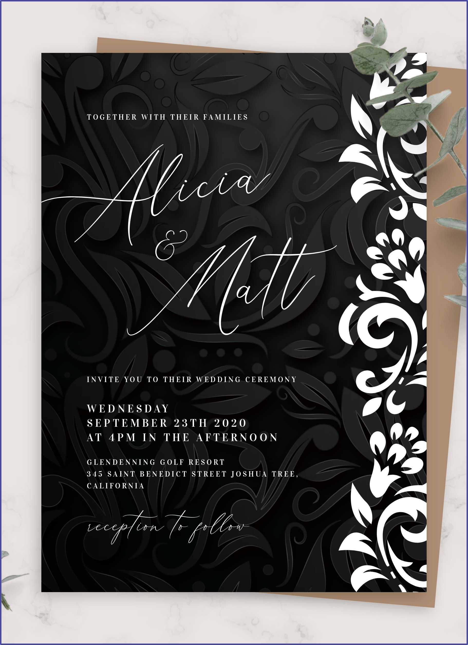 Wedding Invitation Background Black And White